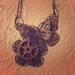 Jewelry - Steampunk inspired butterfly necklace